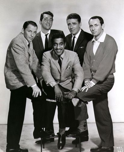 L-R Frank Sinatra, Dean Martin, Peter Lawford, Joey Bishop and Sammy Davis jr. (seated)